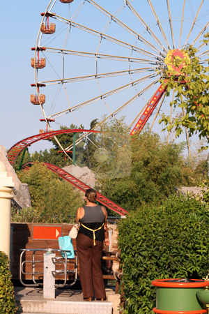 Amusument park stock photo, View from amusement park roller coaster and plants by EVANGELOS THOMAIDIS