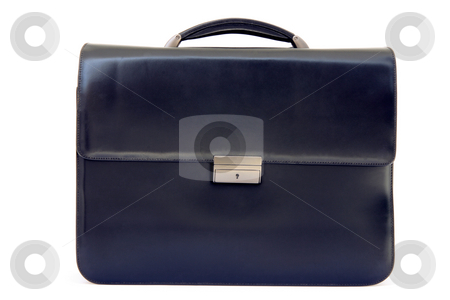 Business briefcase stock photo, Black lether business briefcase isolated on white background by EVANGELOS THOMAIDIS