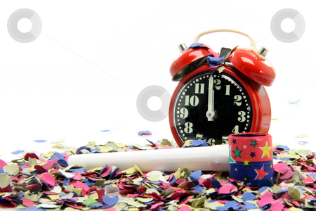 Party time stock photo, Celebration and party time new years eve isolated on  white background by EVANGELOS THOMAIDIS