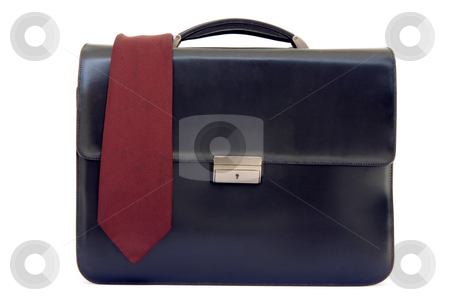 Briefcase and tie stock photo, Tie on black lether business briefcase isolated on white background by EVANGELOS THOMAIDIS