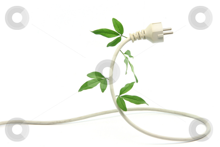 Ecological power stock photo, Green energy ecological concepts power plug and cable with green leaves isolated by EVANGELOS THOMAIDIS