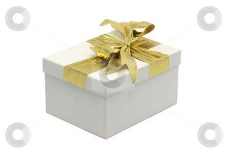 Gift box stock photo, White gift box with golden ribbon isolated on white background with clipping path by EVANGELOS THOMAIDIS