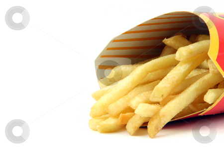 French fries stock photo, French fries in box detail on white backround food concepts by EVANGELOS THOMAIDIS