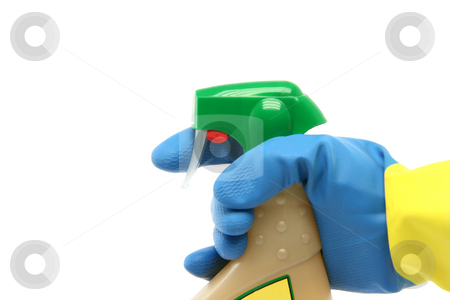 Cleaning concept stock photo, Housekeeping and cleaning concepts hand with glove and sprayer isolated on white background by EVANGELOS THOMAIDIS
