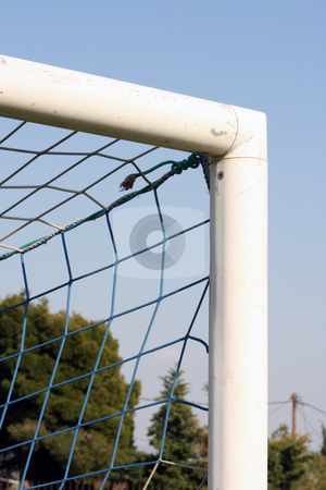 Corner goalpost and sky stock photo, Detail from soccer goalpost and blue sky background sports concepts by EVANGELOS THOMAIDIS