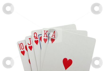 Royal flush with path stock photo, Poker hand royal flush with hearts closeup detail isolated with clipping path gambling by EVANGELOS THOMAIDIS