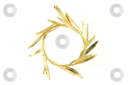 Gold wreath stock photo, Gold winner olive tree wreath for olympic games winners isolated on white background by EVANGELOS THOMAIDIS