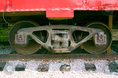 Wheels stock photo, Train wheels onsteel rail  tracks by Jack Schiffer
