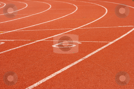 Track lane six stock photo, Race track lanes courve detail for background sports concepts by EVANGELOS THOMAIDIS