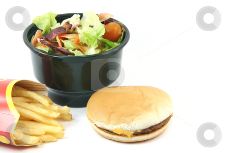 Salad burger potatos stock photo, Salad cheeseburger and french fries in box isolated on white backround food concepts with copy space by EVANGELOS THOMAIDIS