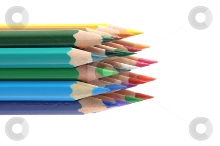 Isolated color pencils stock photo, Isolated color pencils sharpened on white backgroud with copy space by EVANGELOS THOMAIDIS
