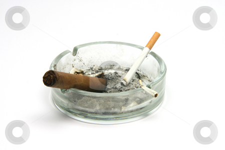 Dirty ashtray stock photo, Dirty ashtray with cigar and two cigarettes isolated on white background by EVANGELOS THOMAIDIS