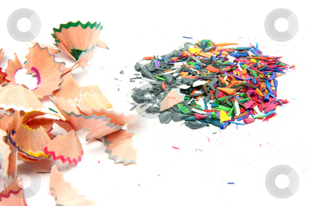 Pencils shavings stock photo, Multicolor pencils wood shavings on white background by EVANGELOS THOMAIDIS