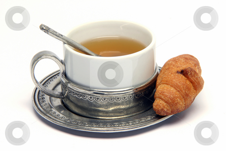 Tea cup and croisant stock photo, Tea cup and mini croisant isolated on white background food concepts by EVANGELOS THOMAIDIS