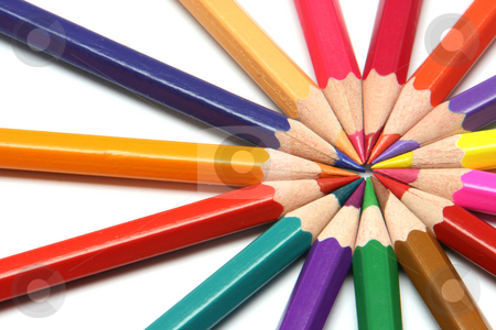 Circle of colour pencils stock photo, Pencils sharpened color assortment on white backgroud by EVANGELOS THOMAIDIS