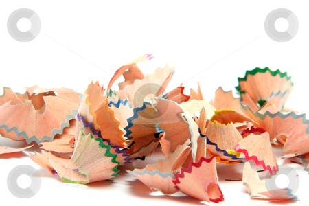 Wood pencils shavings stock photo, Multicolor pencils wood shavings for background use education concepts with copy space by EVANGELOS THOMAIDIS