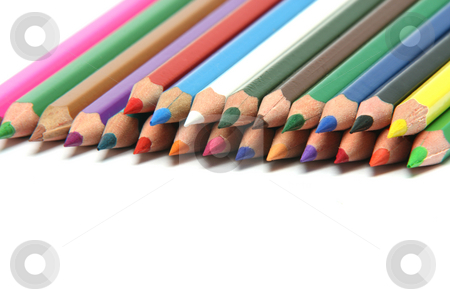 Stack of pencils stock photo, Stack of multy color pencils sharpened isolated on white backgroud with copy space by EVANGELOS THOMAIDIS