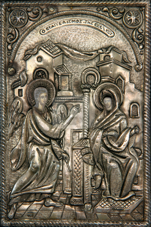 Byzantine icon stock photo, Greek byzantine silver icon religius concepts Virgin Mary announced?by the angel that is going to birth the sun of god by EVANGELOS THOMAIDIS