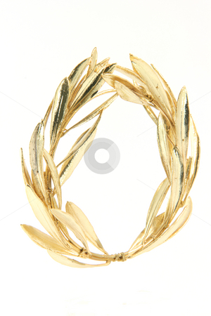 Winner gold wreath  stock photo, Gold winner olive tree wreath for olympic games winners isolated on white background by EVANGELOS THOMAIDIS