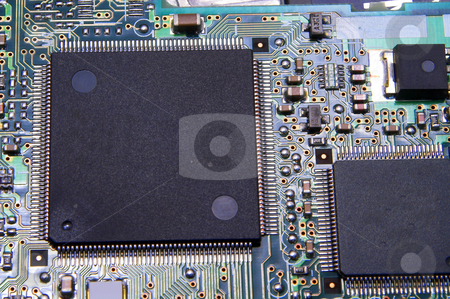 Circuit Board stock photo, A close-up of a printed circuit board. by Robert Byron