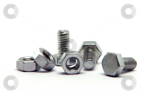 Screws and  bolts  stock photo, Screws and bolts detail isolated on white background with copy space construction industry by EVANGELOS THOMAIDIS