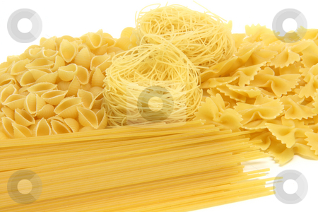 Spaghetti assortment isolated stock photo, Spaghetti assortment isolated on white background with by EVANGELOS THOMAIDIS