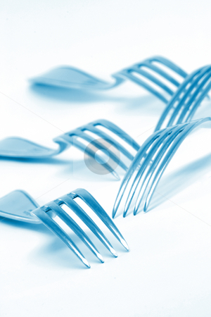 Texture blue forks stock photo, Blue  forks texture on white background food industry concepts by EVANGELOS THOMAIDIS
