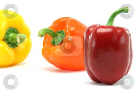 Color peppers stock photo, Clor peppers focus on red one closeup isolated on white background food and vegetables concepts by EVANGELOS THOMAIDIS