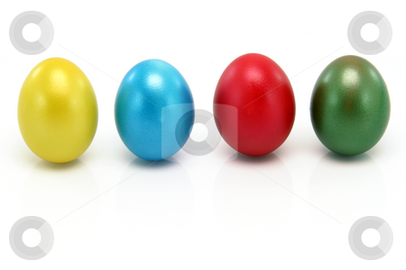 Eggs in arow stock photo, Easter eggs in a row  isolated on white background from above by EVANGELOS THOMAIDIS