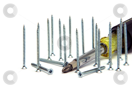Screwdriver ad screws stock photo, Screwdriver detail and screws  isolated on white background construction industry by EVANGELOS THOMAIDIS