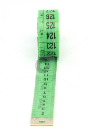 Measure tape stock photo, Green measurment tape isolated on white background by EVANGELOS THOMAIDIS