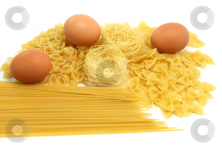 Eggs and spaghetti stock photo, Spaghetti assortment and eggs isolated on white background by EVANGELOS THOMAIDIS