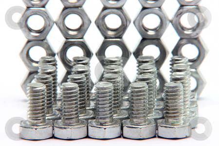Screws and bolts blur stock photo, Srews and bolts blur  on white background  construction industry by EVANGELOS THOMAIDIS