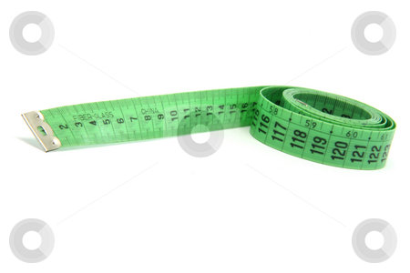 Measure stock photo, Green measurment tape isolated on white background by EVANGELOS THOMAIDIS