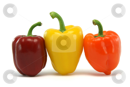 Red yellow orange pepper stock photo, Three color peppers isolated on white background food and vegetables concepts by EVANGELOS THOMAIDIS