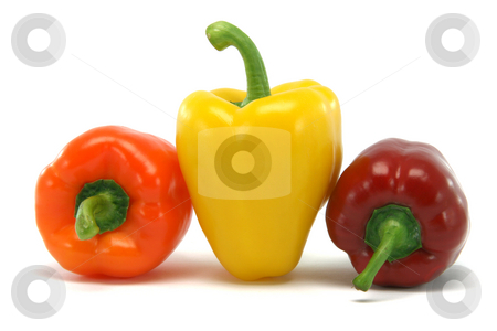 Big yellow pepper stock photo, Different size and color peppers isolated on white background food and vegetables concepts by EVANGELOS THOMAIDIS