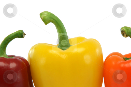 Detail peppers stock photo, Detail from three color peppers isolated on white background food and vegetables concepts by EVANGELOS THOMAIDIS