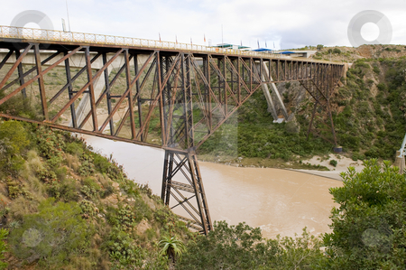 Bungee jumping bridge stock photo, The famous Gouritz river bungee jumping bridge in South Africa. by Nicolaas Traut