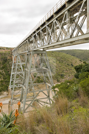 Train bridge over river stock photo, A train bridge over the Gouritz river in South Africa. This bridge is adjacent to the bungee jumping bridge. by Nicolaas Traut