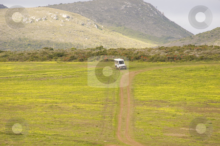 Safari vehicle stock photo, A safari vehicle driving on a track in a wildlife reserve. by Nicolaas Traut