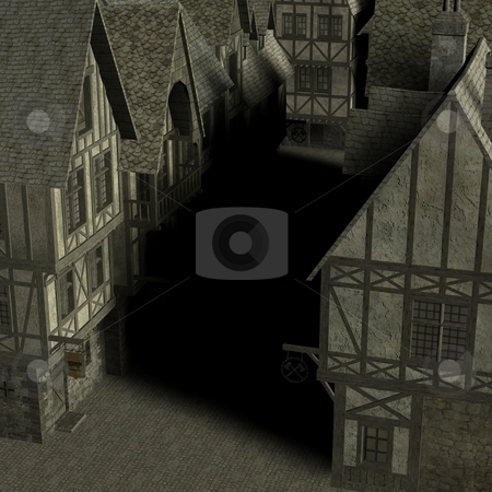 Medieval City stock photo, 3D Render of an Medieval City by Andreas Meyer