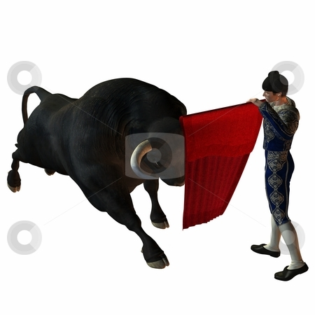 Bullfight stock photo, 3D Render of an Bullfight by Andreas Meyer