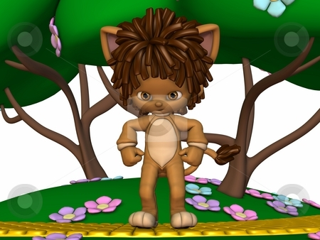 Leo the little lion stock photo, 3D Render of an Toon Figure by Andreas Meyer