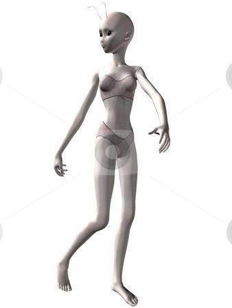 Lovely girl Alien running stock photo, 3D Render of an Lovely Alien by Andreas Meyer