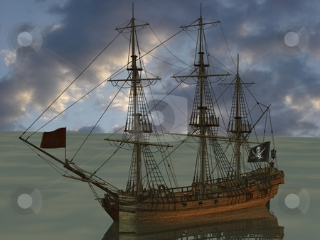 Pirate Boat stock photo, 3D Render of an Pirate Boat by Andreas Meyer