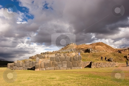 Sacsayhuam?n stock photo, Sacsayhuam?n (also known as Saksaq Waman) is an Inca walled complex near the old city of Cusco, at an altitude of 3,701 m. Some believe the walls were a form of fortification, while others believe it was only used to form the head of the Puma that Sacsayhuam?n along with Cuzco form when seen from above. by Mariusz Jurgielewicz