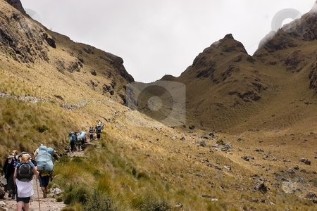 Yuncachimpa to Warmiwa?usca to Paqaymayo stock photo, Most popular of the Inca trails for trekking is the Capaq ?an trail, which leads from the village of Ollantaytambo to Machu Picchu by Mariusz Jurgielewicz