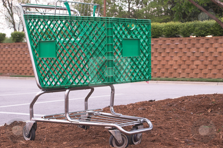 Shopping Cart stock photo, A shopping cart at a retail store. by Robert Byron