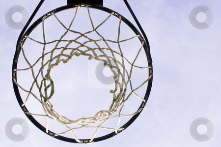 Basketball Goal stock photo, A basketball goal wating for a game to start. by Robert Byron