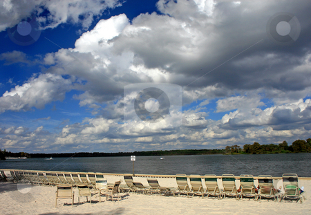Beach, Sky and Lake stock photo, Beach with 3D like sky and looking over a lake. by Lucy Clark